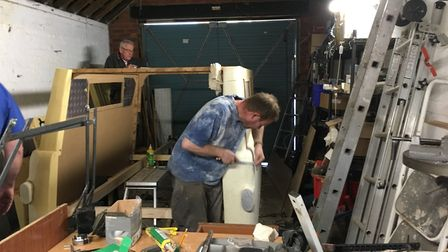 Dave Borthwick working away on the construction of the lightweight Bedford van for Lady In The Van P