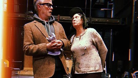 Steve Taplin and Jenni Horne rehearsing Lady in the Van on the New Wolsey stage Photo: Olly Wood