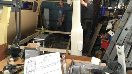 Dave Borthwick and his team working away on the construction of the lightweight Bedford van for Lady