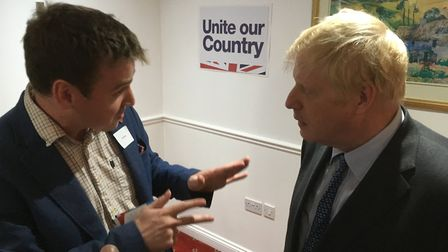 Ipswich Conservative candidate Tom Hunt with Boris Johnson. Picture; PAUL GEATER