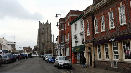 Market Hill in Sudbury town centre Picture: PHIL MORLEY