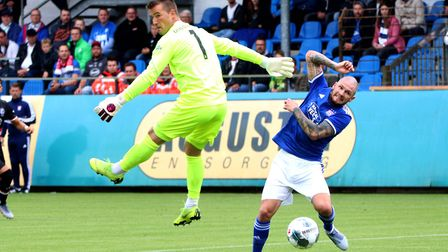 James Norwood scoring his first Ipswich Town goal Picture: ROSS HALLS