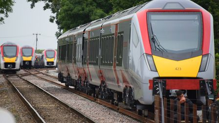 Some of Greater Anglia's new trains are being stored at sidings on the Mid Norfolk Railway. Picture: