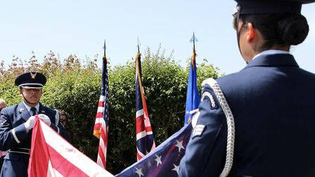 THE US Air Force Honor Guard from Lakenheath conduct the flag-folding ceremony Picture: CHRIS FRENCH