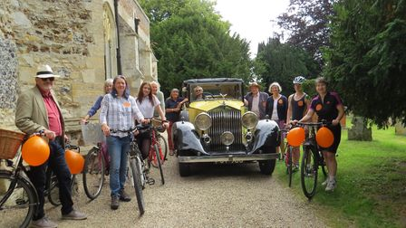 Charlie Haylock with the Rolls Royce, riders and striders, at the launch of Suffolk Churches Ride an