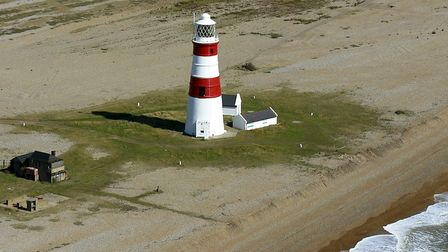 Orfordness Lighthouse 2005, showing distance from the sea Picture: MIKE PAGE