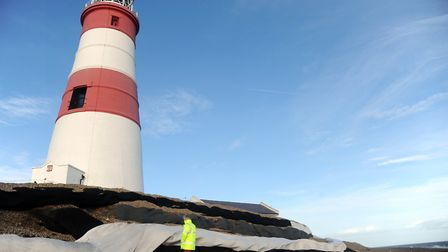 The 'sausage' defences infront of Orfordness Lighthouse in 2016 Picture: SIMON PARKER