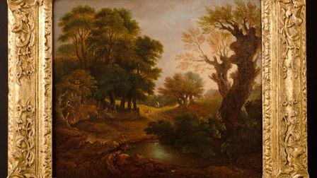 Wooded Landscape with Figures, Cottage and a Pool by Gainsborough Picture: GAINSBOROUGH'S HOUSE