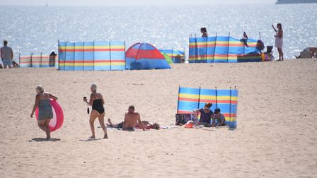 Holidaymakers and families enjoying Gorleston beach . Picture: DENISE BRADLEY