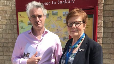 South Suffolk MP James Cartlidge and Suffolk County Councillor Mary Evans, cabinet member for highwa