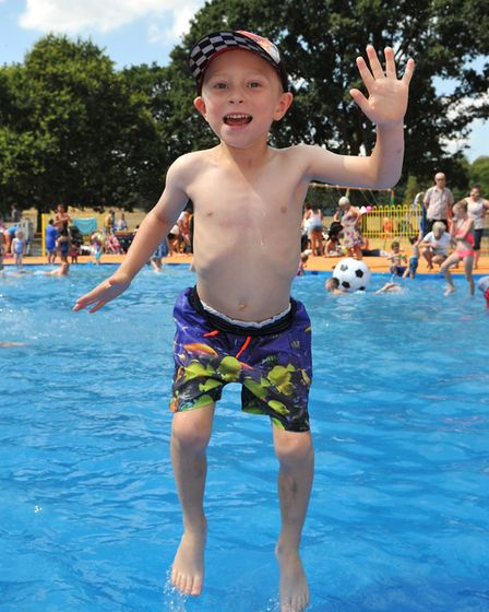 Leighton Fairs cools off in the Bourne Park paddling pool in Ipswich Picture:SARAH LUCY BROWN