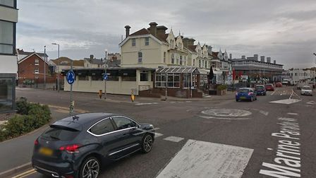 A man has been assaulted with a 'samurai sword' in Agave Road, at the junction with Marine Parade, i