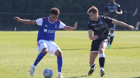 Kai Brown on the ball during Town U23s 4-1 win over Colchester Picture: ROSS HALLS