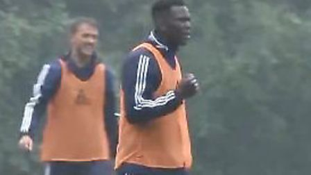 Toto Nsiala scored a powerful goal in Ipswich Town training in Germany. Picture: ITFC