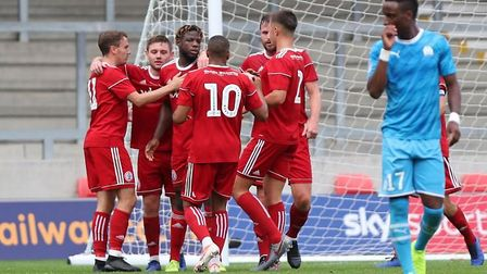 Accrington Stanley players celebrate during their 2-1 friendly win over French giants Marseille. Pic