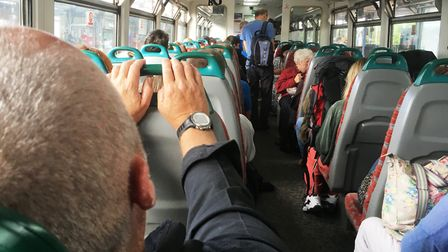 There was standing room only for some passengers on the single-car train from Ely to Ipswich. Pictur