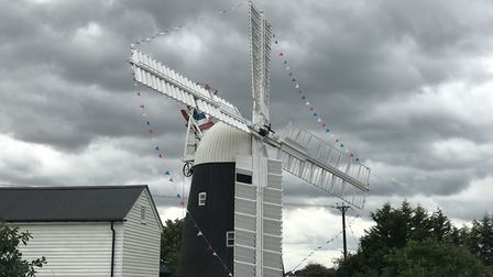 Thelnetham windmill dressed with bunting to mark its 200th anniversary Picture: ELLA WILKINSON