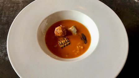 The Crab/Corn course at The Brewers Arms in Rattlesden. Lovely rich bisque. Picture: MARK HEATH