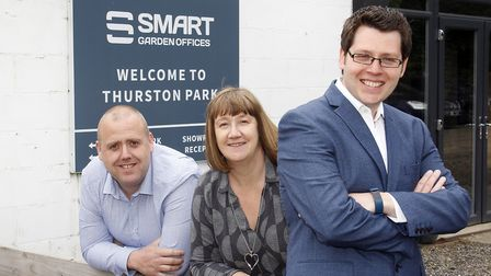 From left, Smart Garden Offices' new owners Paul Sheppard, Sue Phillips and Matt Moss Picture: PAUL