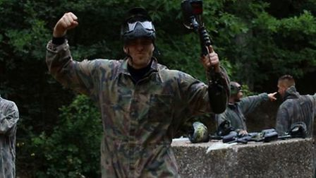 Tomas Holy having fun with a paintball gun. Picture: ITFC