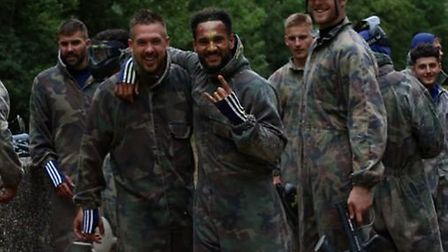 Luke Chambers and Jordan Roberts during the Blues' paintball excursion. Picture: ITFC