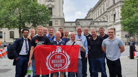 Members of Suffolk's Fire Brigades' Union (FBU) travelled to London to campiagn for more funding Pi