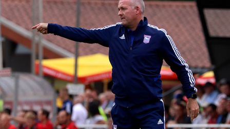 Paul Lambert giving out orders during the Paderborn friendly. Picture: ROSS HALLS