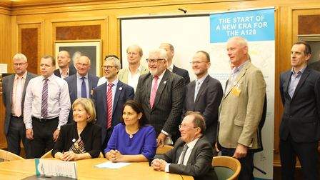Priti Patel with business leaders and local councillors at the meeting in Chelmsford. Picture: ESSEX