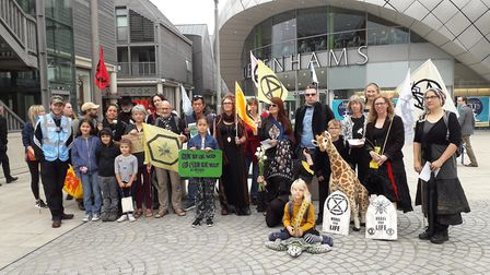 The protesters in Bury St Edmunds town centre Picture: XR BURY ST EDMUNDS