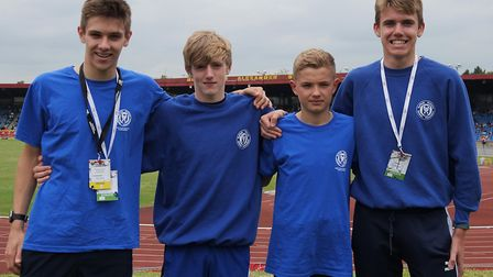 A quartet of Suffolk middle distance runners at the English Schools Championships, from left, Charli