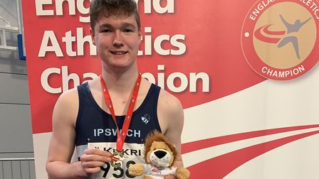 Will Lamprell, of Framlingham College, who won a silver medal in the junior boys' shot at the Englis