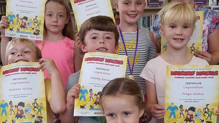 Reading challenge finishers at Aldeburgh Library in 2018, proudly holidng their certificates Picture