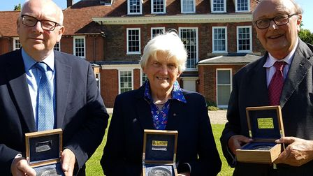The investiture of the first three Suffolk Medal winners - Terry Hunt, Sally Fogden and Richard Mart