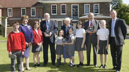 Terry Hunt, Sally Fogden and Richard Martineau, with Lord Lieutenant of Suffolk Lady Clare Euston, G