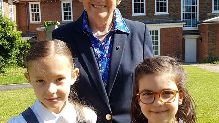 Canon Sally Fogden with pupils from Honington primary Picture: RACHEL EDGE
