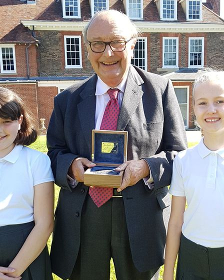 Richard Martineau with pupils from Walsham-le-Willows school Picture: RACHEL EDGE
