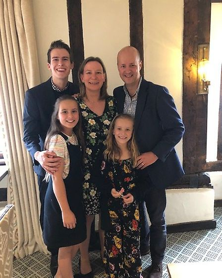 Kevin Palmer with his wife Zoe and their children Connor, 18, Hazel, 11, and Zara. Picture: JOHN SOW