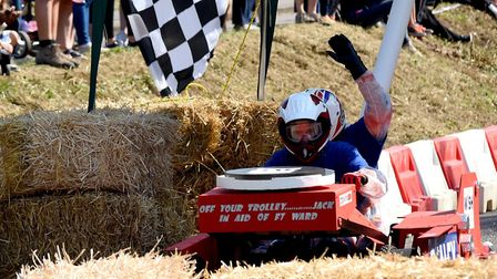Andrew Read and Malcolm McLanachan pilot the Seeley's soapbox in last year's event Picture: SUZY AB