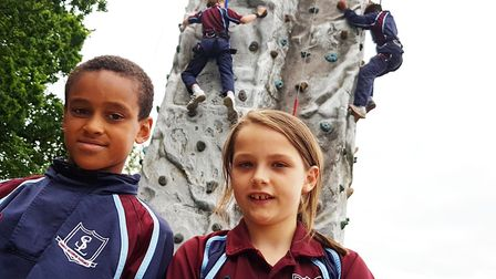 Pupils from South Lee School in Bury St Edmunds climbed to raise funds for a new playground Picture: