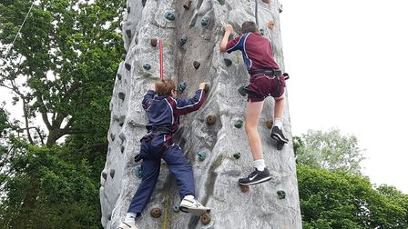 Climbers tackling the wall Picture: RACHEL EDGE
