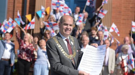 Mayor of Felixstowe, Nick Barber celebrates Suffolk Day with fellow dignitaries Picture: SARAH LUCY