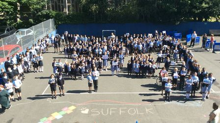 Pupils at St Matthew's Primary School created a 'living map' of Suffolk on their playground Picture: