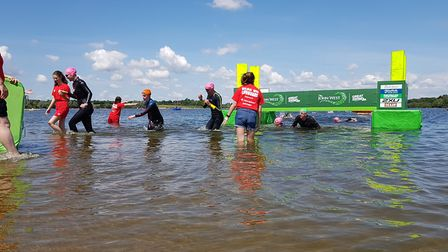 Swimmers were treated to clear blue skies at the John West Great East Swim at Alton Water Park, Suff