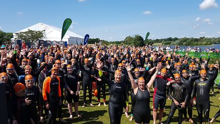 Hundreads of people took part in the Great East Swim in Suffolk. Picture: RACHEL EDGE