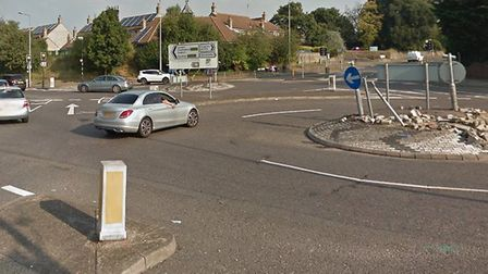 A crash involving a lorry and a car has blocked a busy Colchester roundabout Picture: GOOGLE MAPS
