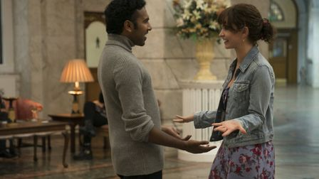 Himesh Patel as Jack Malik meeting up with former manager Ellie (Lily James) in Yesterday by Richar