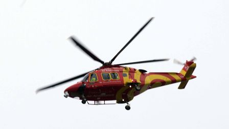 The Essex and Herts Air Ambulance was seen landing in colchester's Abbey Fields Picture: NIGE BROWN