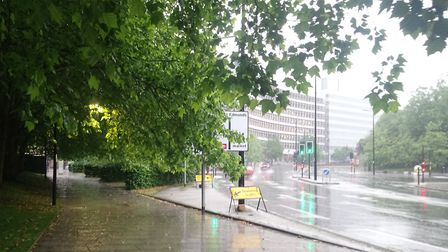 It was a showery start to Tuesday morning in Ipswich Picture: ARCHANT