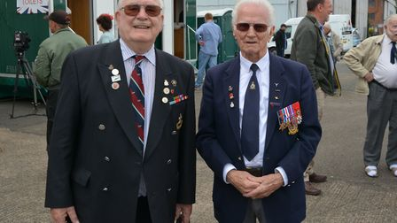 Sgt Len Manning, right, with fellow veteran Ivan Potter at the Project Propeller event. Picture: VIC