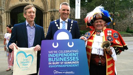 Mike Kirkham, left, Mayor of Bury Peter Thompson, and town crier Tony Appleton Picture: MARK LANGFO